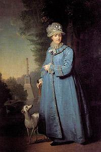 Екатерина II на прогулке в Царскосельском парке. 1794