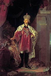 Портрет Павла I в костюме гроссмейстера Мальтийского ордена. 1800.