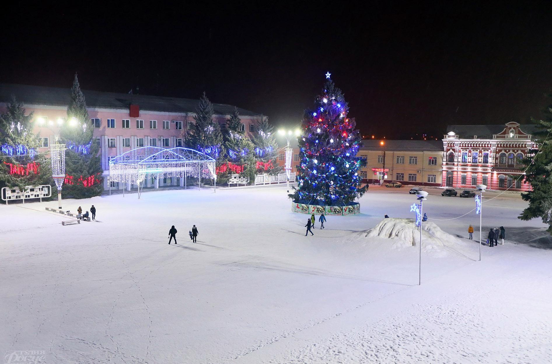 Елка на центральной площади Новозыбкова. Фото: В.Клещёв, 2016 г.