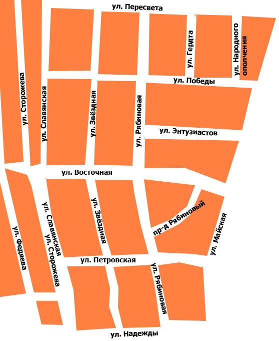 Новые улицы Новозыбкова в северо-восточном районе индивидуальной застройки