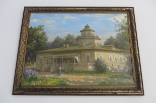 Картина с изображением прежнего Охотничьего замка, сожжёного в годы Великой Отечественной войны