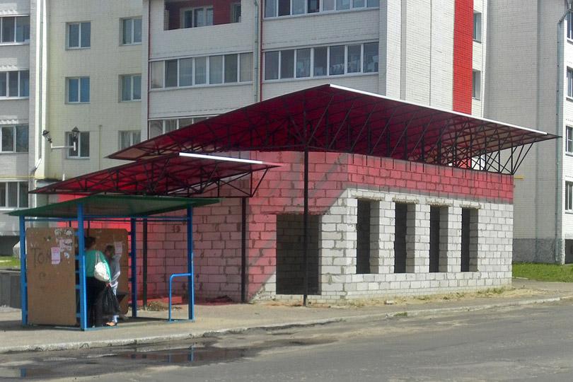 Строительство остановочного комплекса у памятника 307 дивизии в Новозыбкове. Фото: К.Карпов