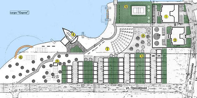Схема планировки прибрежной зоны озера Карна.