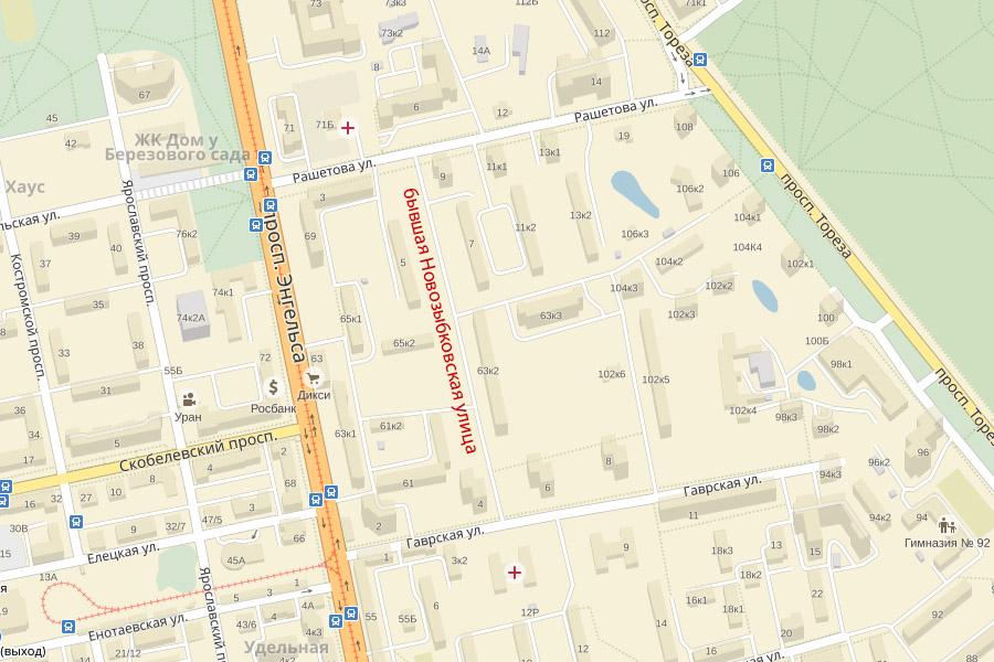 Бывшая Новозыбковская улица на карте Санкт-Петербурга
