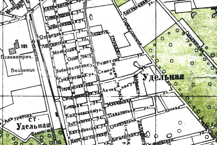 Княжеская улица на старой карте Петербурга