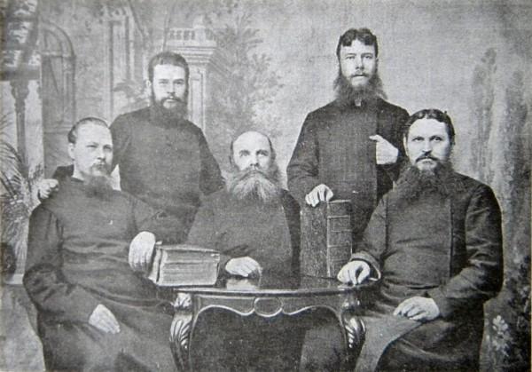 Группа начетчиков, 1914 г. (Ф.Е.Мельников - второй справа)