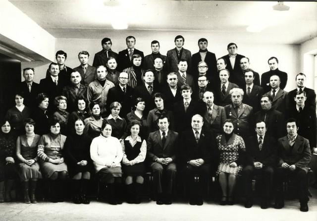 Коллектив преподавателей и мастеров НСХТ. Начало 80-х годов.