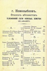 Справочник Весь Новозыбков на 1914 г. Список абонентов телефонной сети (2)