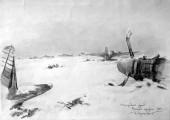 Сталинградский фронт. Немецкий аэродром. 1942. Худ. П.А.Чернышевский