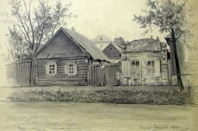Уходящий Новозыбков. Старые дома на улице Ленина. 1984. Худ. П.А.Чернышевский